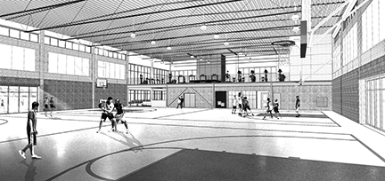 Architect's rendering of WVC Student Rec Center interior